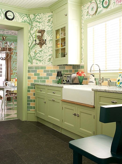 sage green kitchen with wallpaper