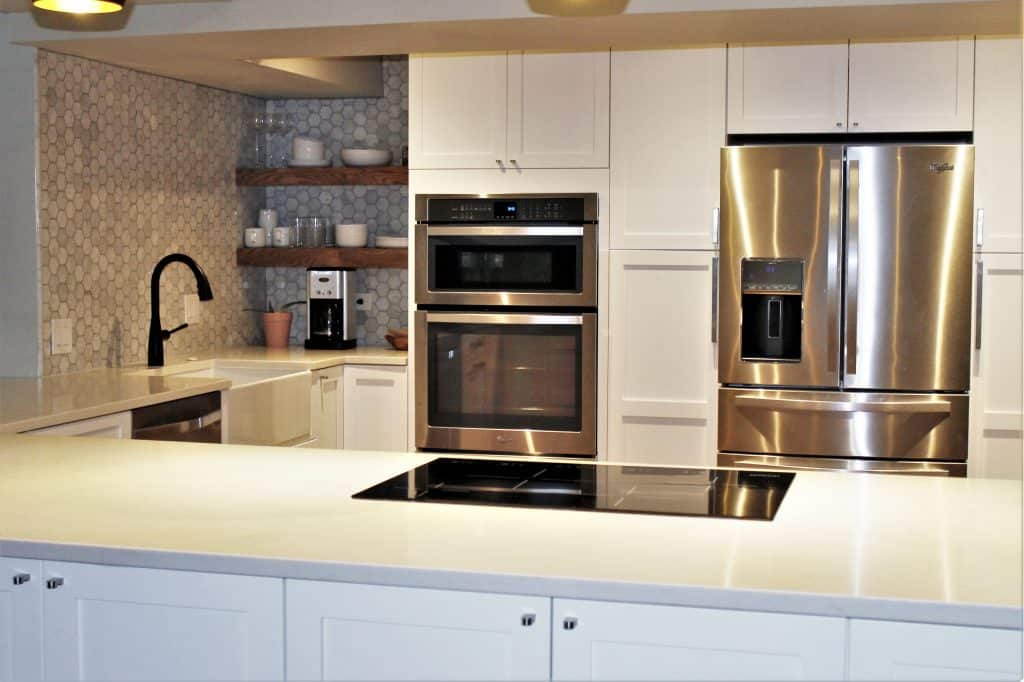 transitional compact white kitchen