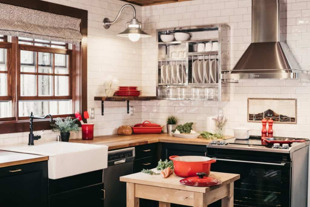farmhouse kitchen with black cabinetry