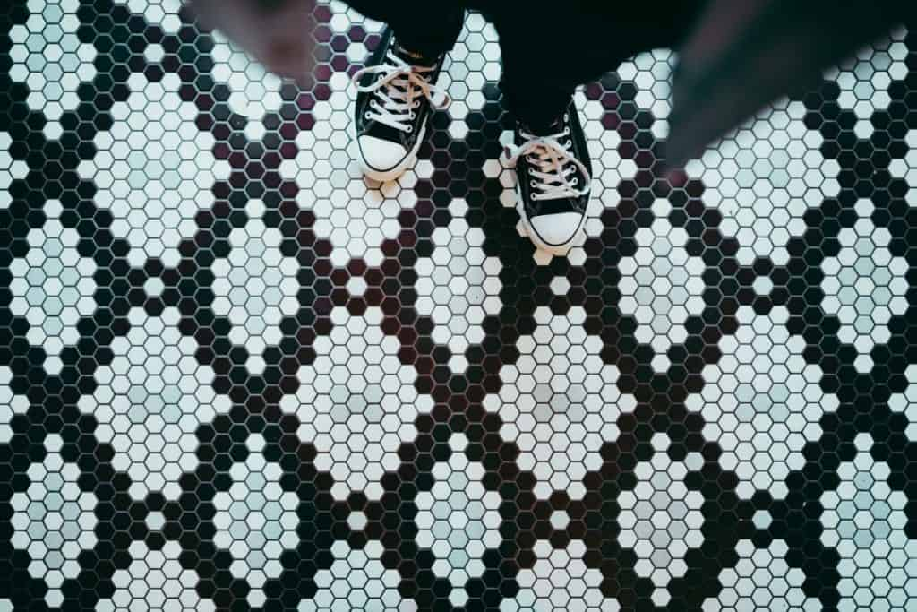 blue and black mosaic flooring