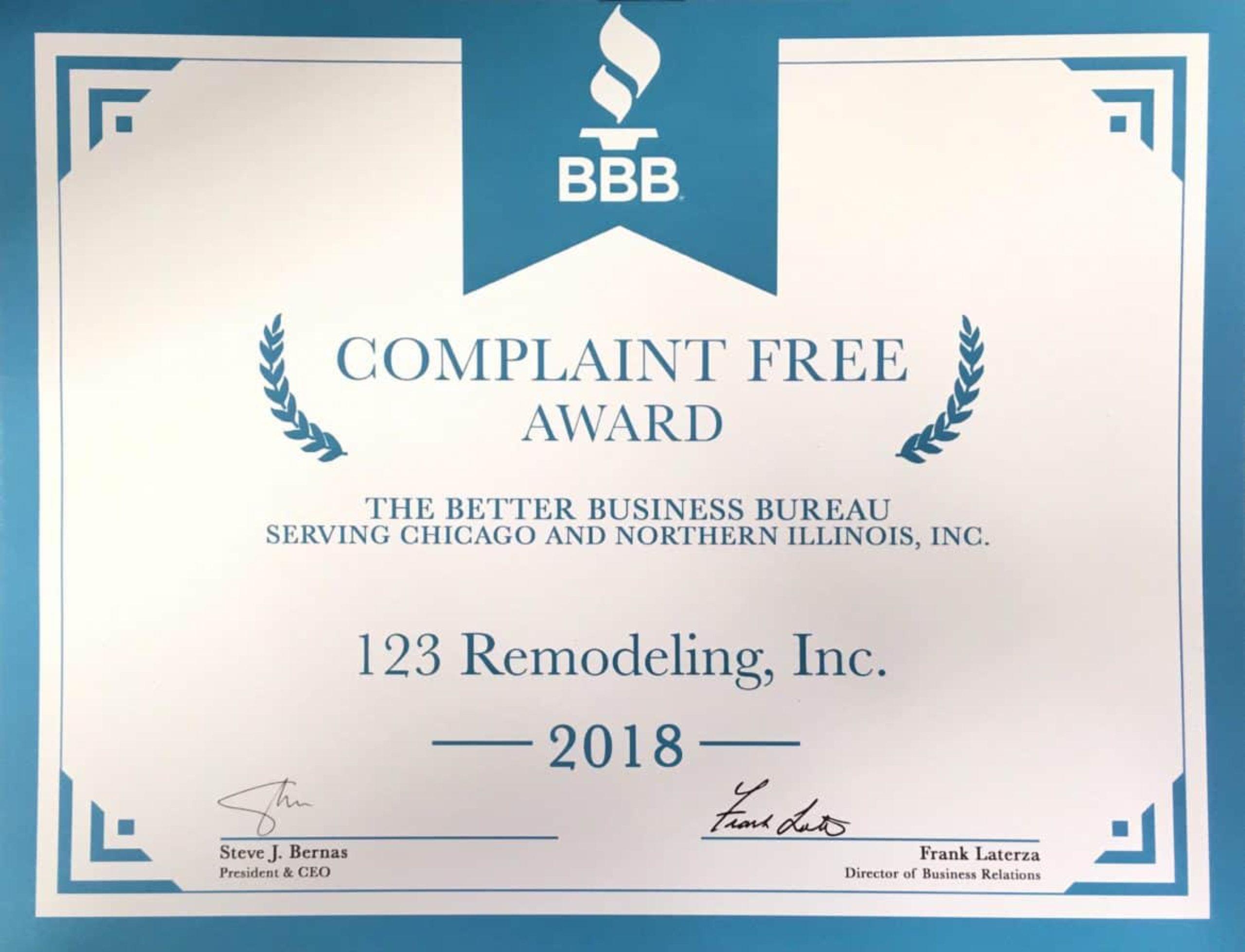 123 Remodeling Complaint Free Award 2018
