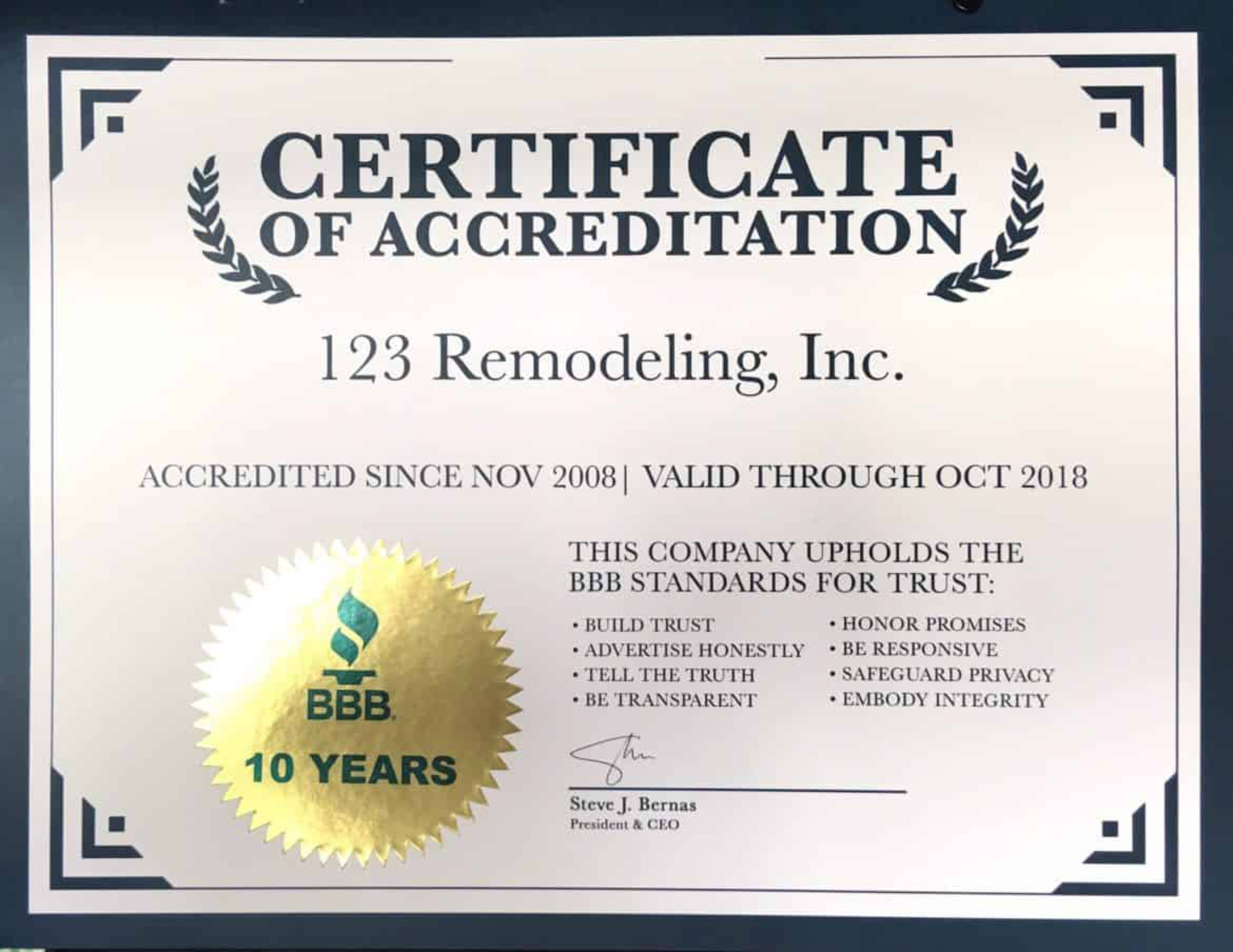 123 Remodeling BBB Certificate of Accreditation