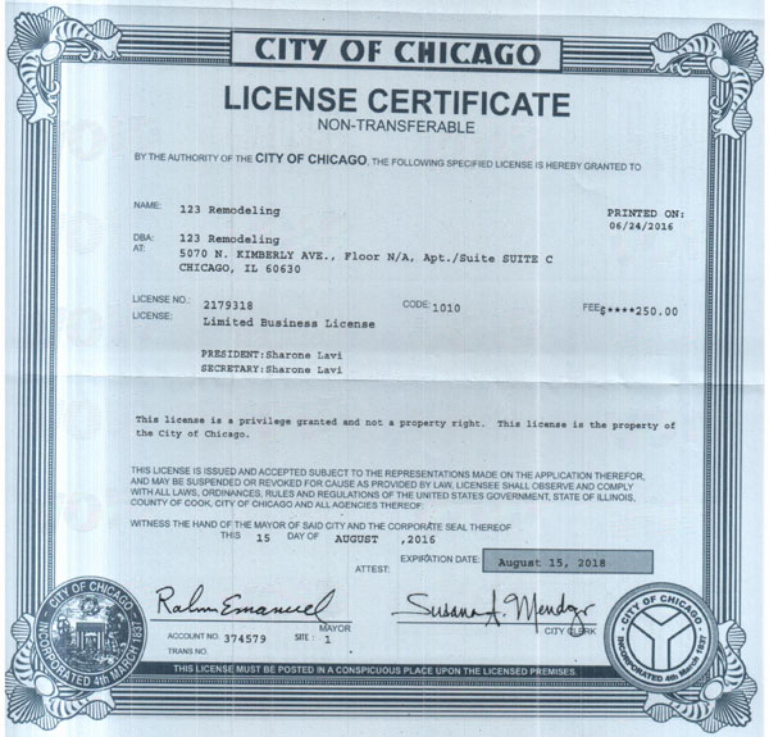 123 Remodeling City of Chicago Business License