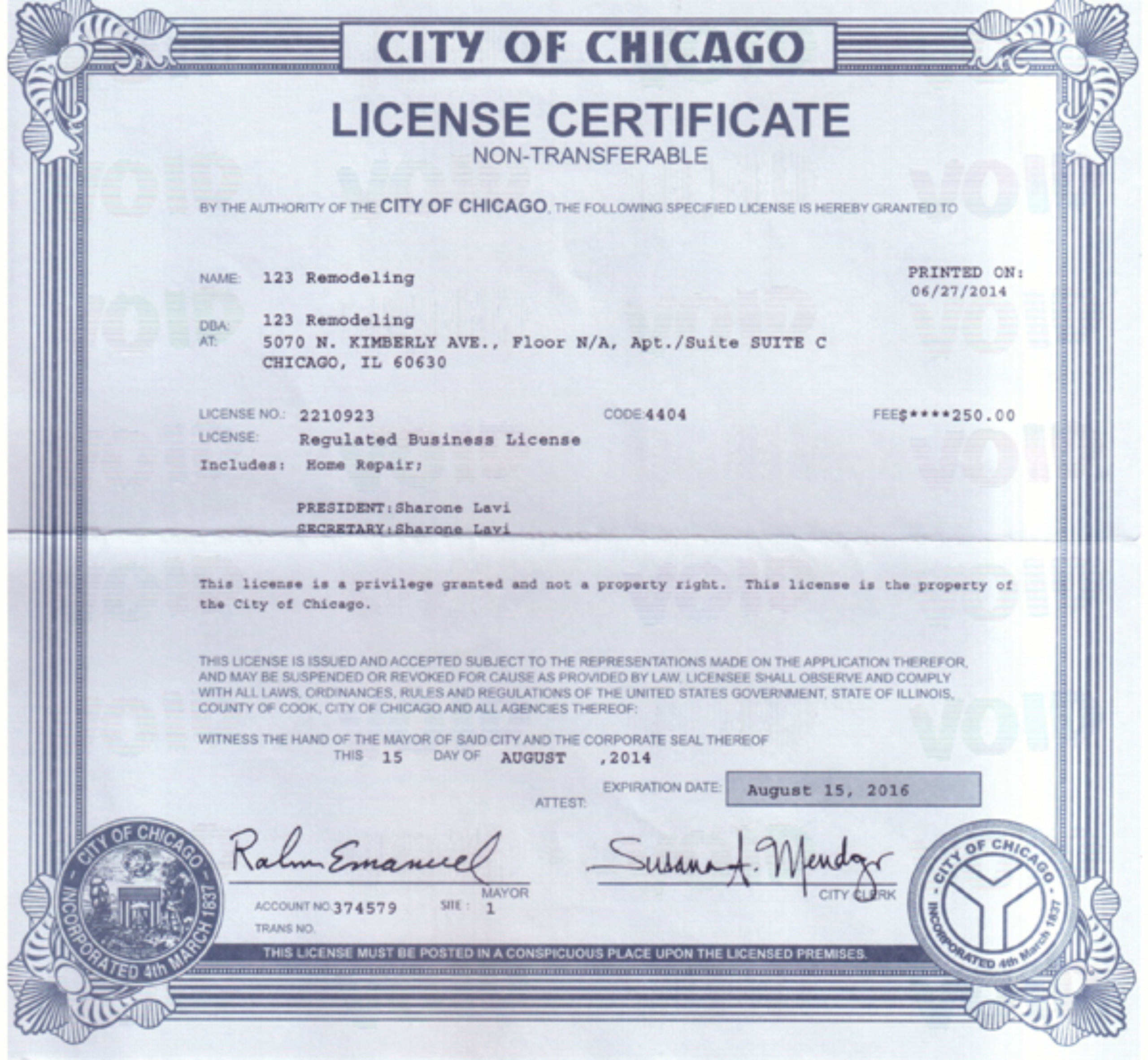 123 Remodeling City of Chicago Limited Business License