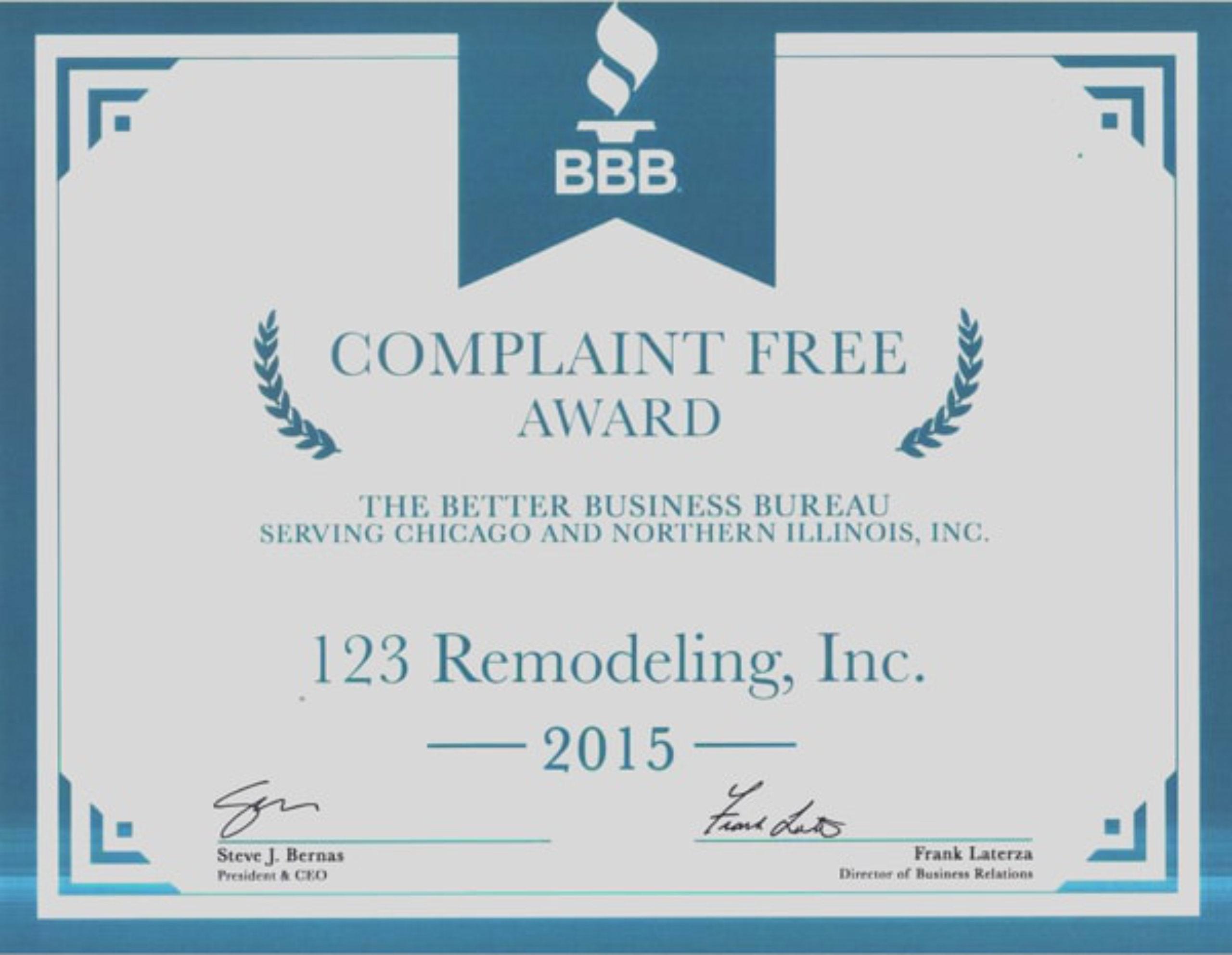 123 Remodeling Complaint Free Award 2015