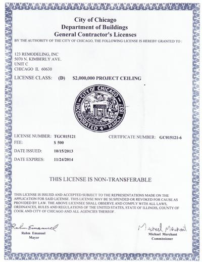 General Contractor License 2013-2014