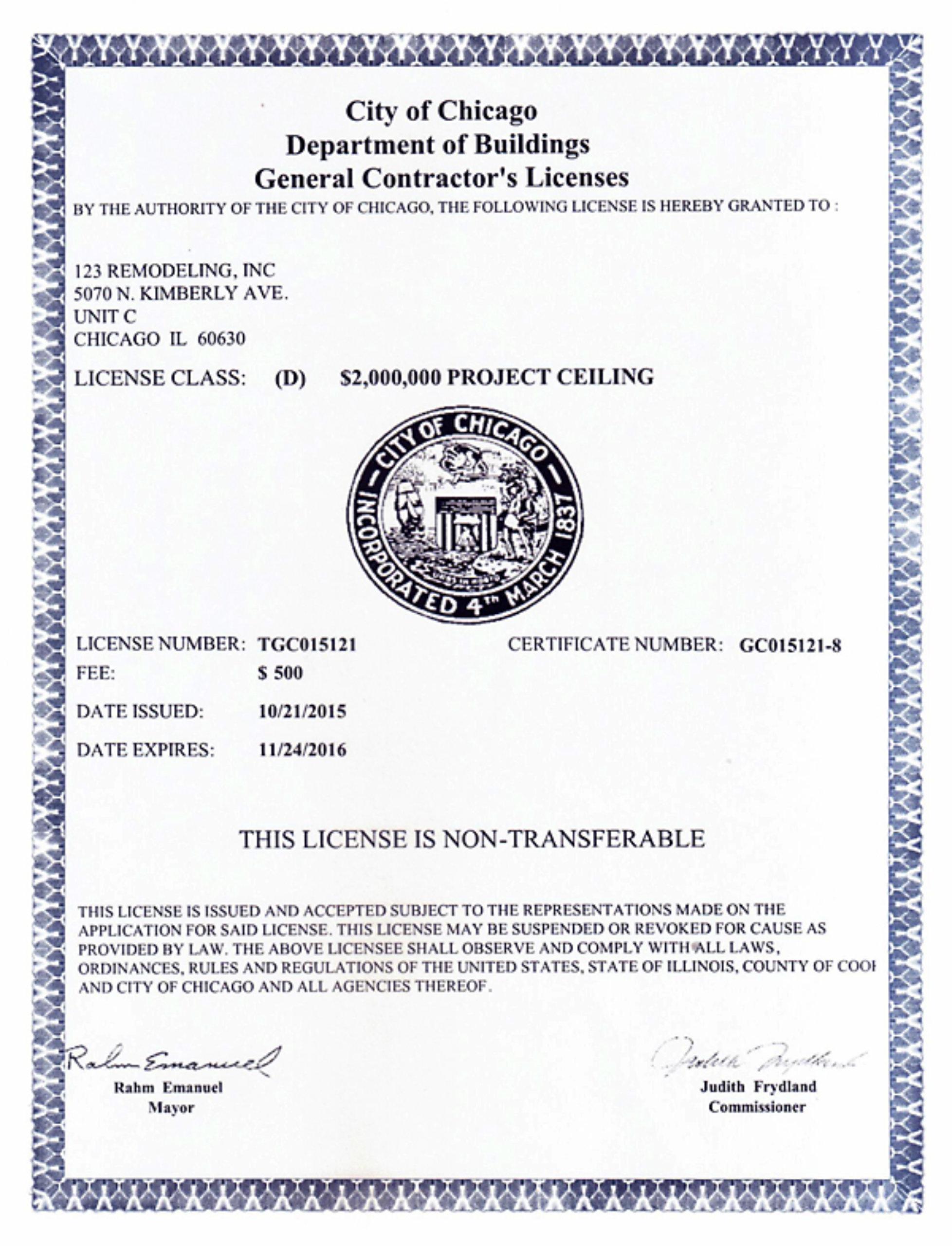 General Contractor License 2015-2016