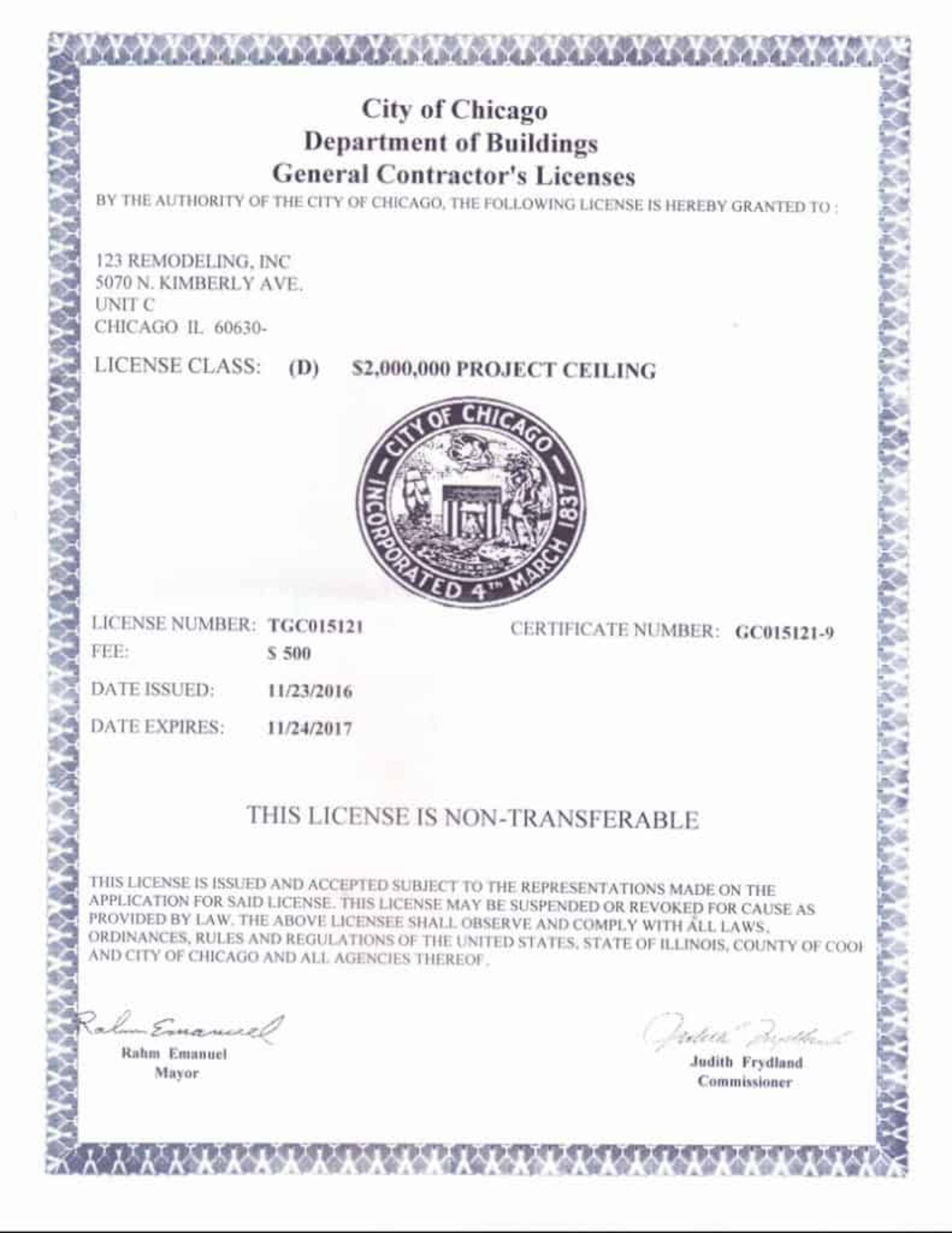 General Contractor License 2016-2017