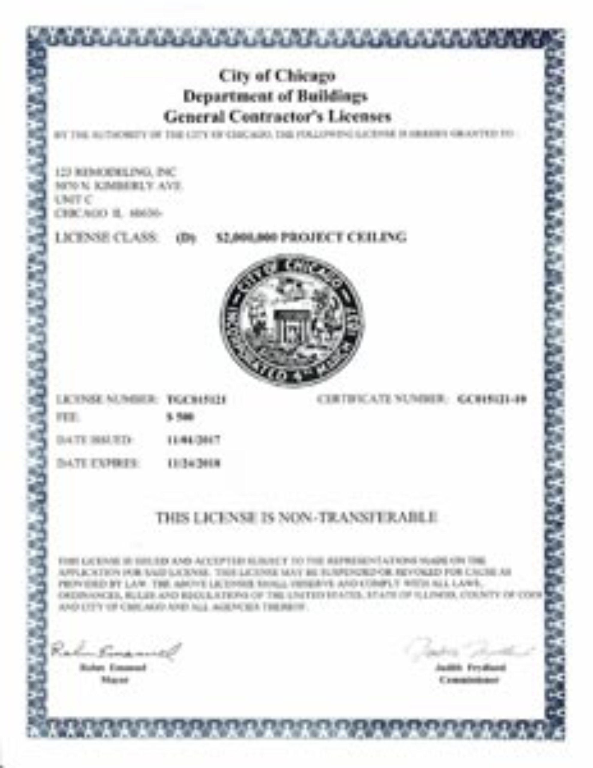 General Contractor License 2017-2018