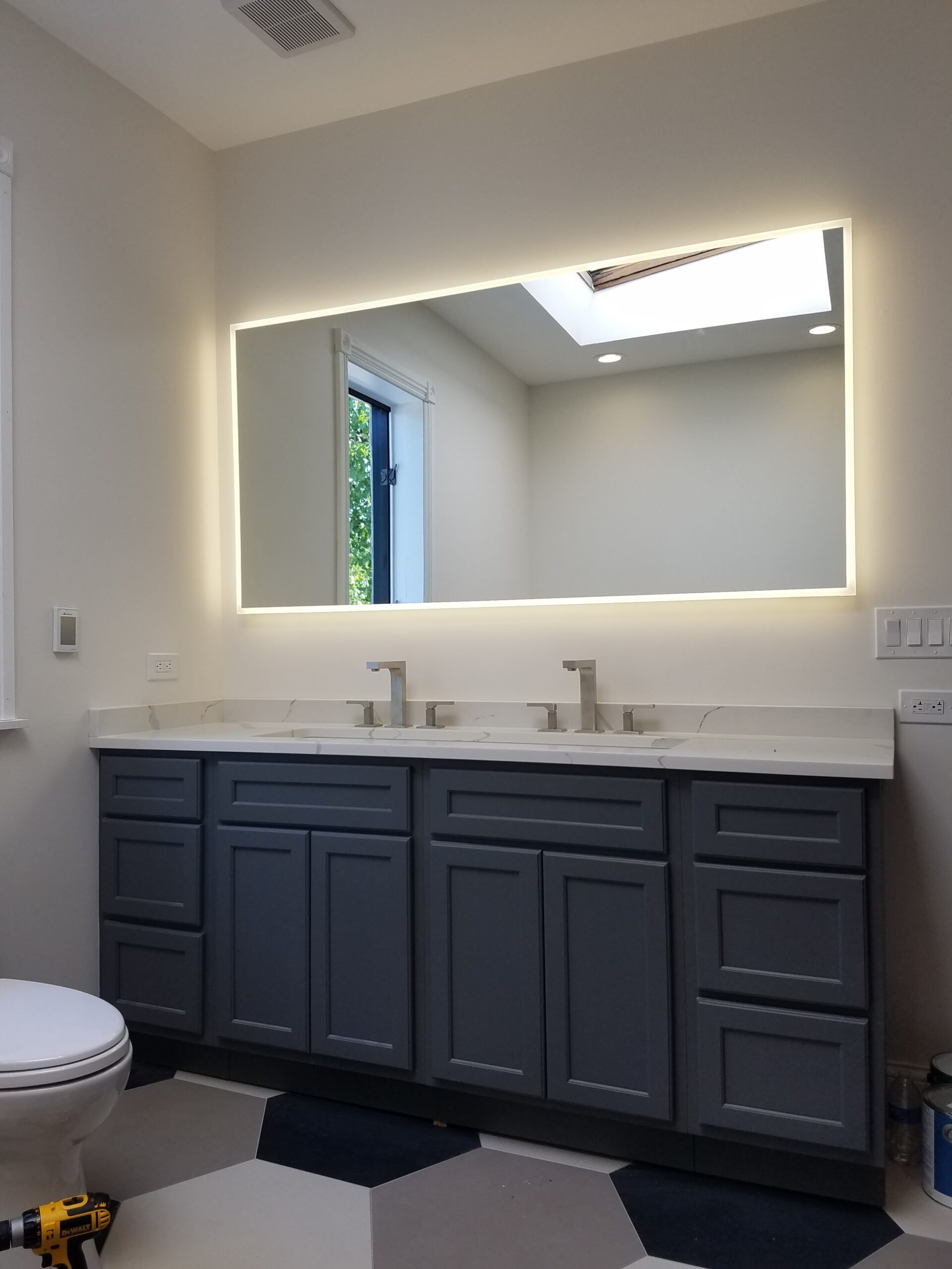 Chicago Bucktown Rowhouse Master Bathroom Lighted Mirror Remodel
