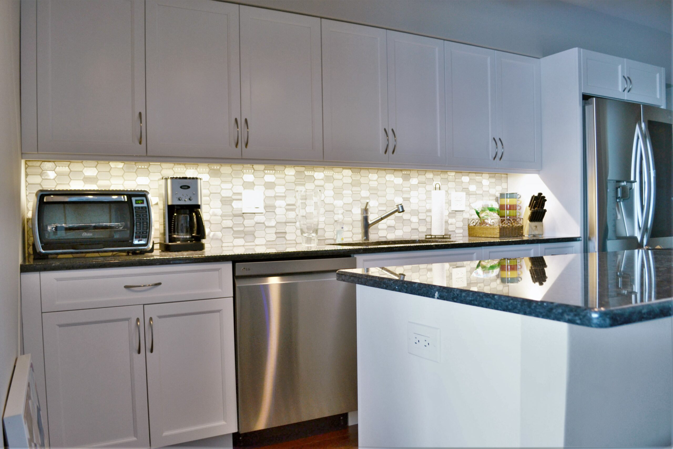 Chicago Lake Shore Condo Transitional White Kitchen Remodel