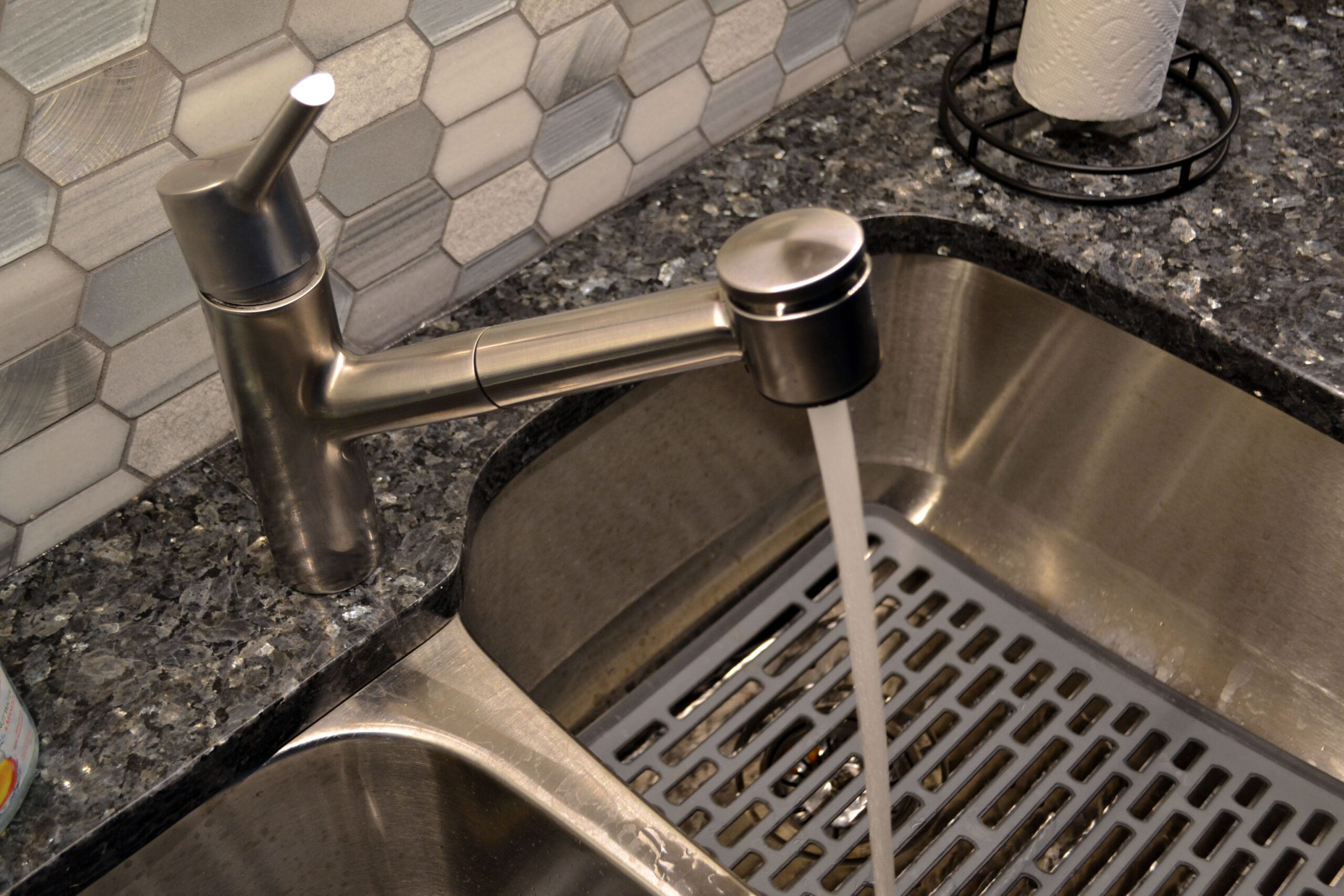 Stainless Steel Sink at Chicago Lake Shore Condo Transitional White Kitchen Remodeling Project