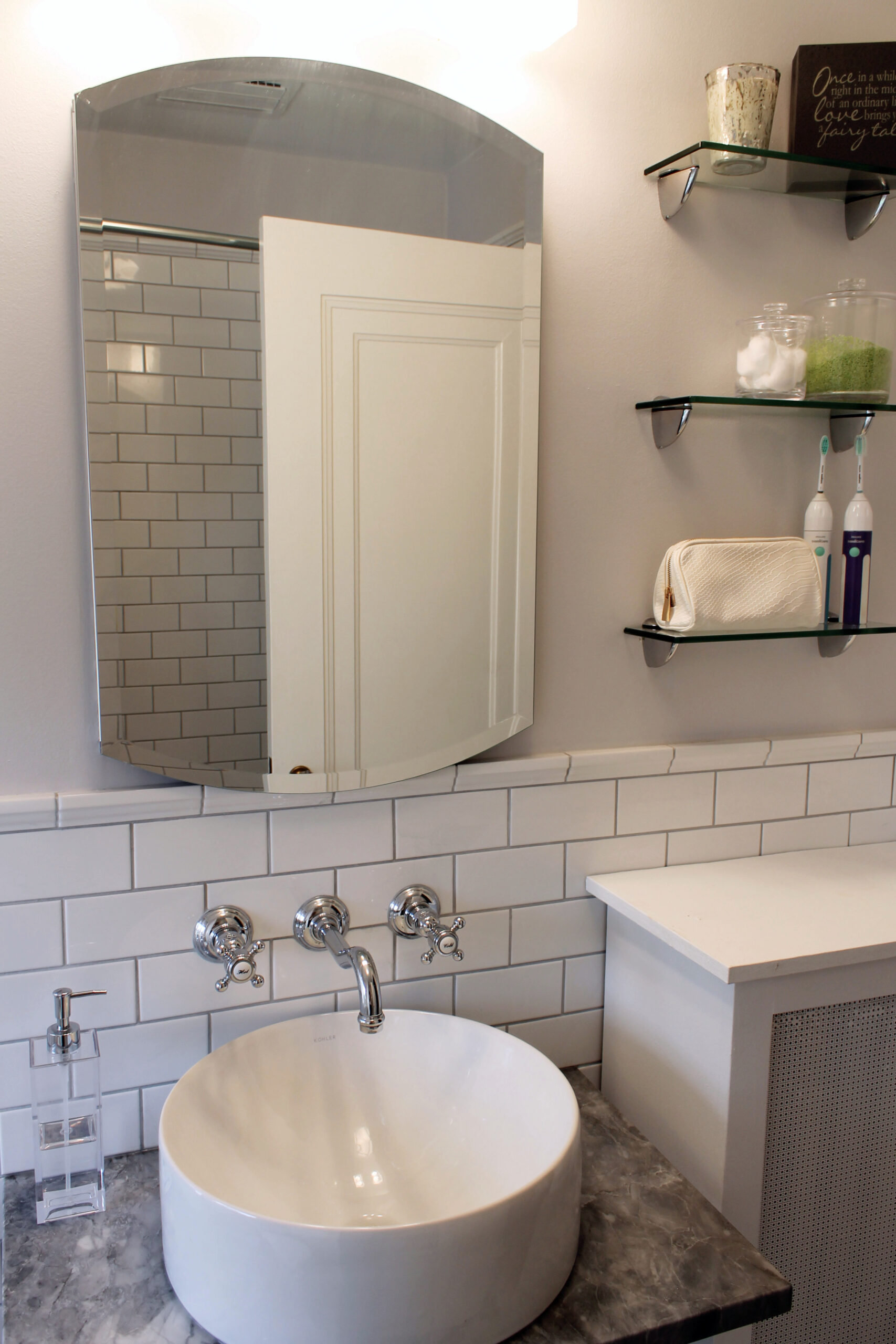 Evanston IL Traditional Bathroom Remodel Mirror And Sink