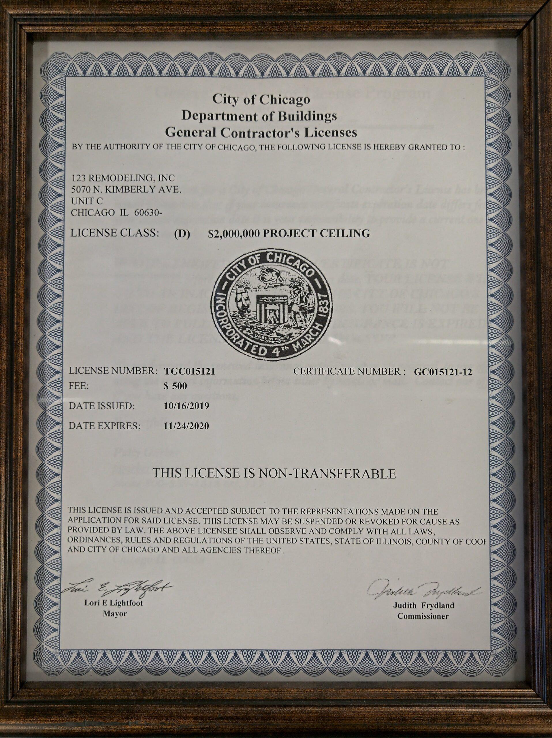 General Contractor License 2019-2020